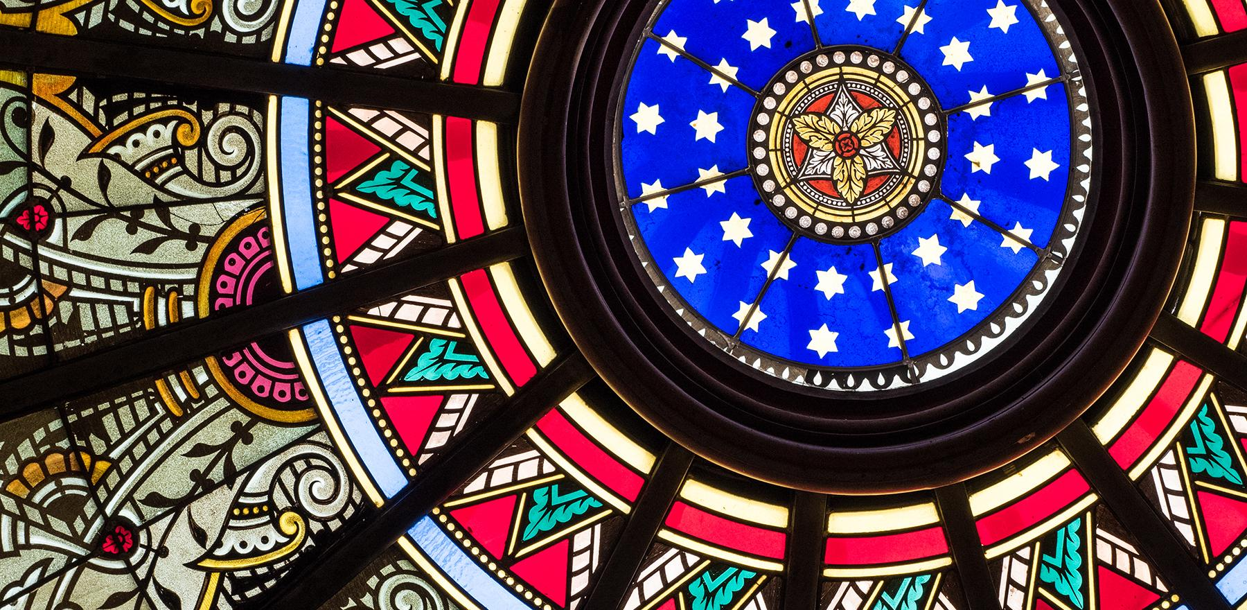 The stained glass rotunda in Linderman Library at Lehigh University