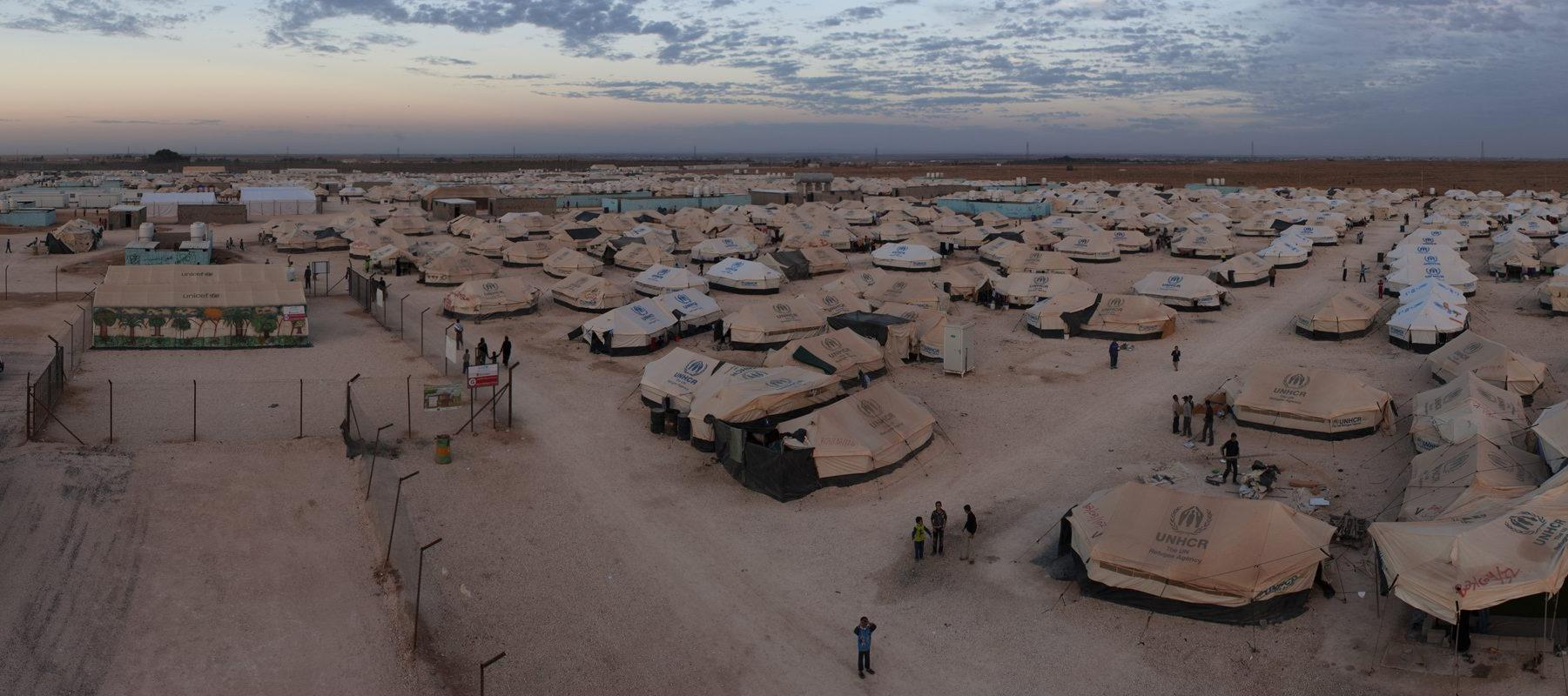 An aerial view of the Za'atari Refugee Camp in Jordan. Panorama taken on 21 November, 2012.