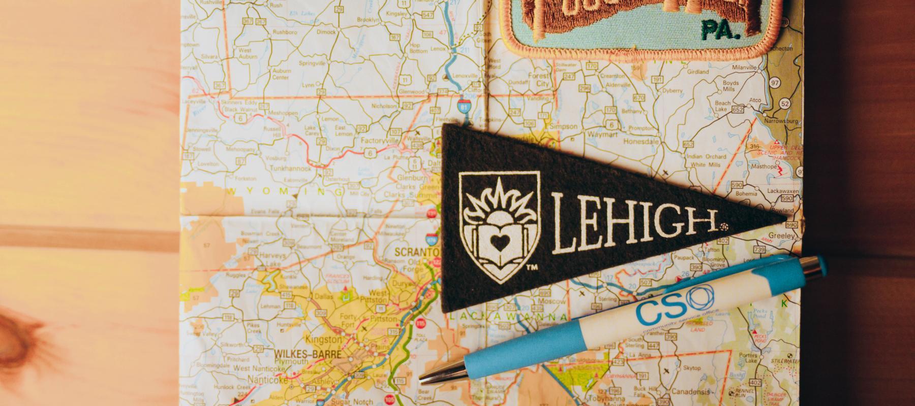 Lehigh pennant on map of Pennsylvania