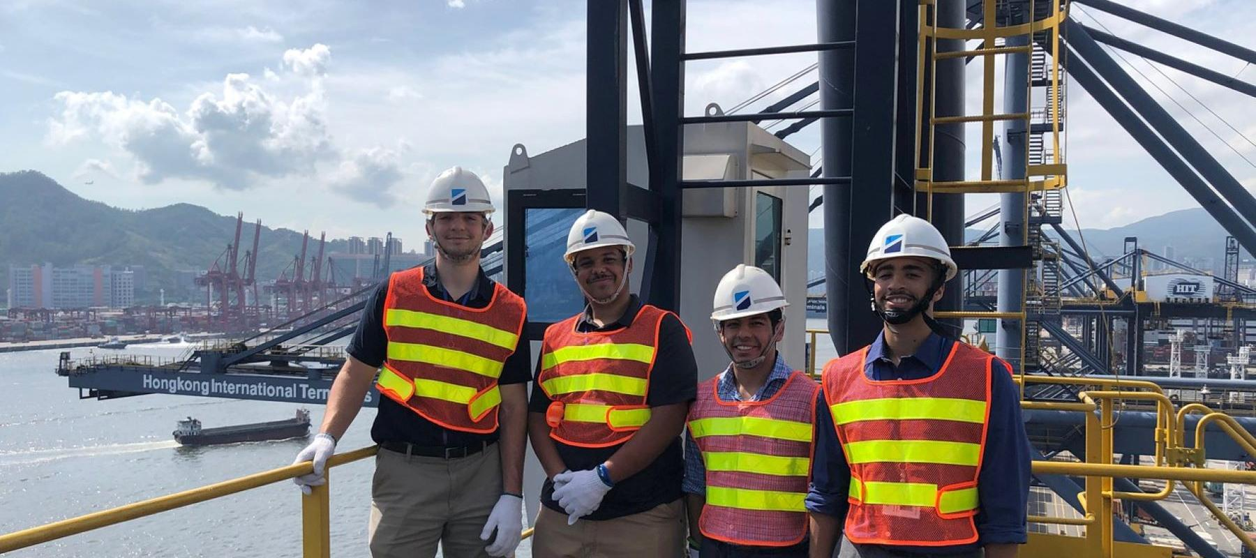 Students interning at Hutchinson Port Holdings in Hong Kong visit the port