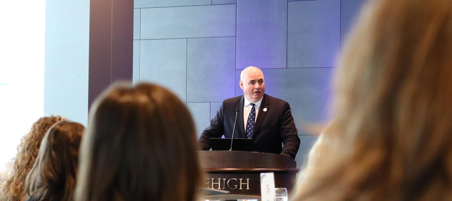 Kevin Cassiday, director of the International Labour Organization Office for the United States, speaks at Lehigh University