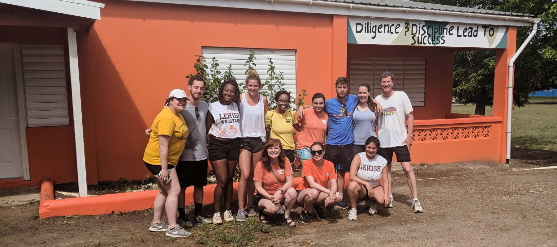 Students at a school during the service trip to Antigua