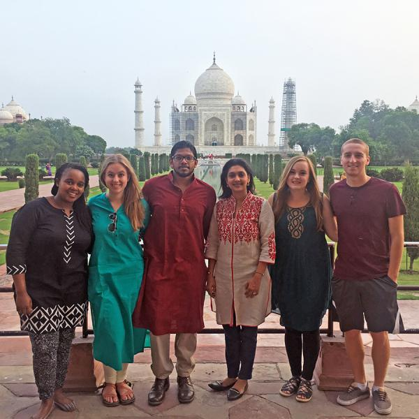 Students in the Iacocca International Internship Program in front of the Taj Mahal in India