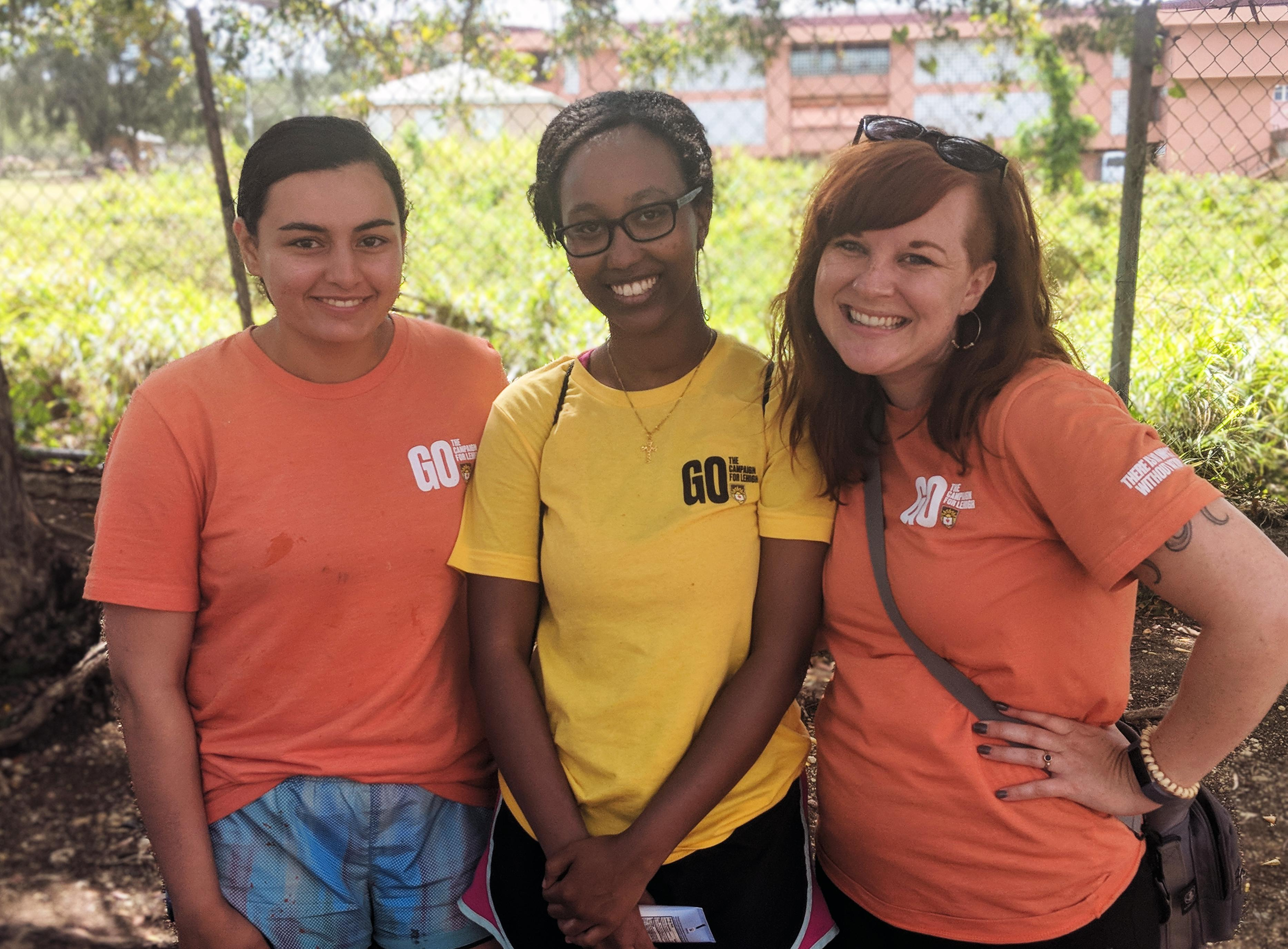 Chelsea Gilbert with students in Antigua