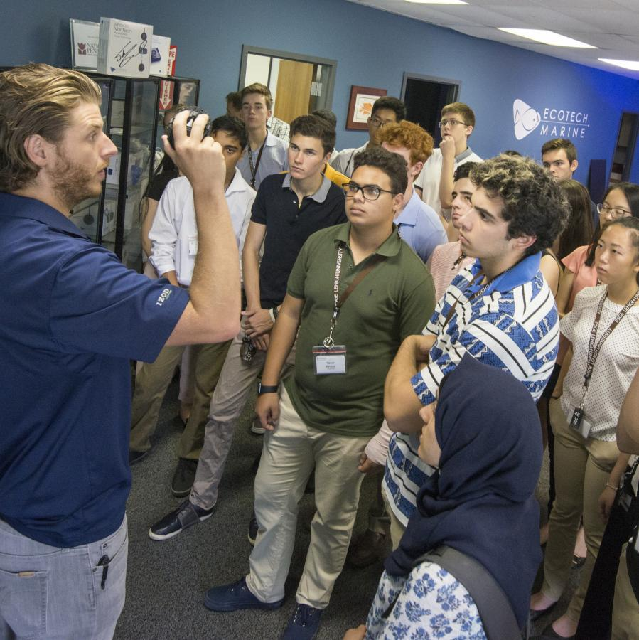 Students in the Iacocca Global Entrepeneurship Intensive visit EcoTech Marine in Bethlehem, Pennsylvania